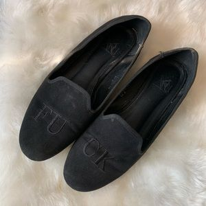 YRU Embroidered F*ck Loafers gently used!